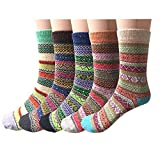 Pack of 5 Womens Vintage Winter Soft Warm Thick Cold Weather Knit Wool Casual Cozy Crew Socks