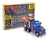 : Melissa & Doug Deluxe Wooden Mighty Builders Tow Truck