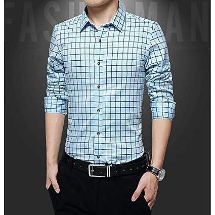 fdd688b13c IYFBXl Camisa de algodón Slim para Hombre - Color sólido a Rayas Manga Larga