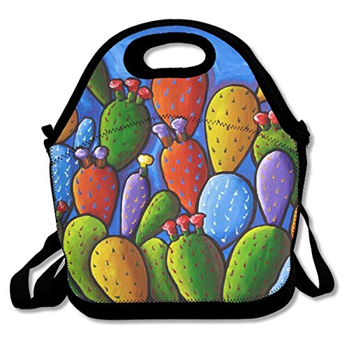 Neoprene Wilder California Prickly Pear Colorful Cactus Zipper Lunch Tote Bag - Insulated Waterproof Detachable Shoulder Strap Lunch Box for Women, Adults, Kids, Girls, Teens ()
