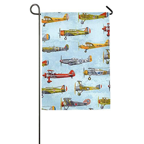 Pingshoes Airplane Plane Summer Birthday Initial Spring Patio Garden Flags All-Weather Polyester
