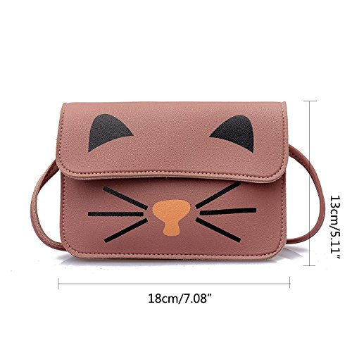 Shoulder Crossbody Cat Package Phone Bag Women Kitty Pink Satchel Kids Pawaca Mobile Messenger Girls Mini Purses Square Fashion Small Bag Handbag Gray Shoulder Cute for Bag E5q6w6d