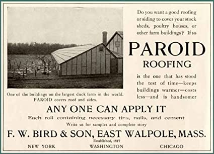 Amazon com: 1904 F W  Bird & Son AD for PAROID Roofing Material