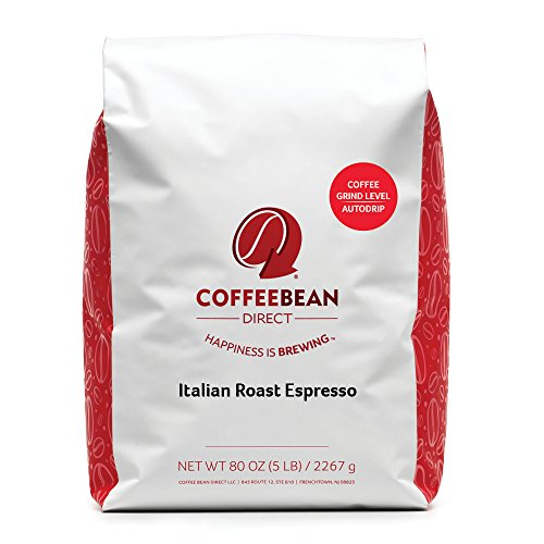 Coffee Bean Direct Italian Roast Espresso Ground Coffee, 5-Pound Bag