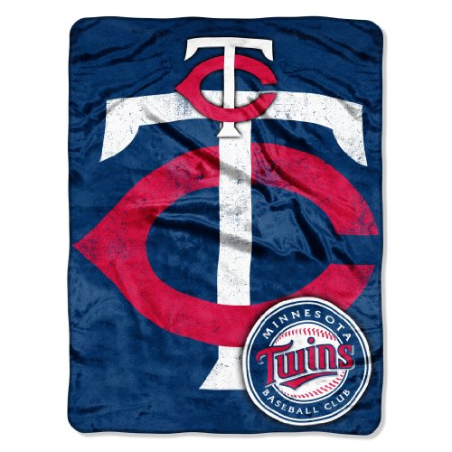 Officially Licensed MLB Minnesota Twins Micro Raschel Plush Throw Blanket, Trip Play Design