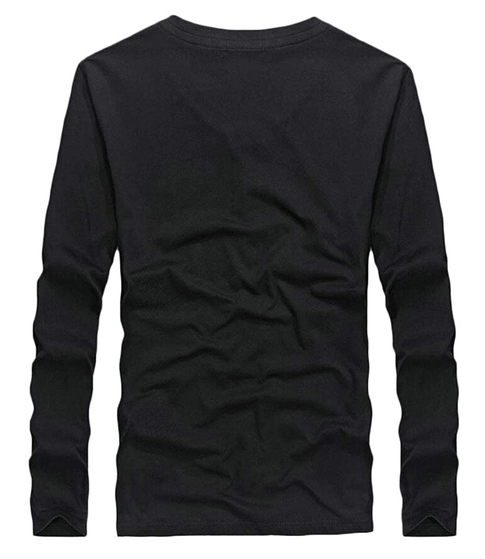 Alion Mens Casual Slim Fit Henley T-Shirts V-Neck Long Sleeve Tee Tops