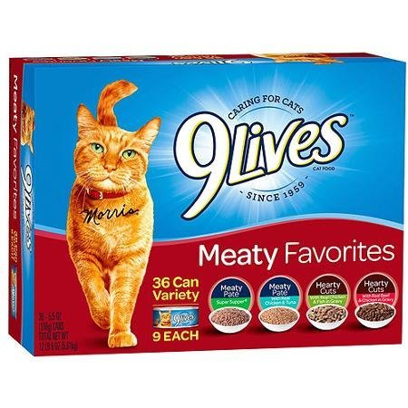 51LMCCv2jKL - 9Lives Meaty Favorites Wet Cat Food Variety Pack, 5.5-Ounce Cans Pack of 36 includes 9 each: Super Supper Pate, Chicken & Tuna Pate, Hearty Cuts Chicken & Fish, & Hearty Cuts Beef & Chicken