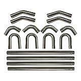 "BETTERCLOUD 16PCS 3"" 76mm 304 Stainless Steel DIY Custom Mandrel Exhaust Pipe Straight & Bend Kit"