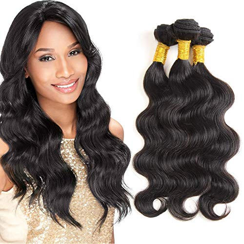 Brazilian Virgin Hair Body Wave 3 Bundles Human Hair Weave Grade 8A Natural Black Color Body Wave Hair Extensions (8inch 10inch 12inch)