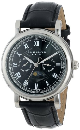 Akribos XXIV Men's AK635SSB Retro Multifunction Silver-tone Stainless Steel Black Leather Strap Watch