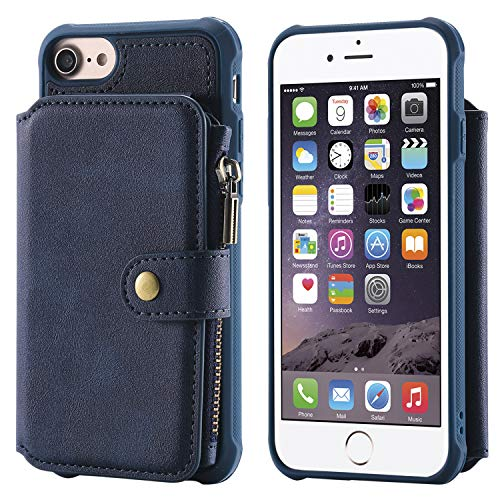 Cover Case for iPhone 8 iPhone 7,Holder PU Leather Blue Waterproof 4.7inch Holder Magnetic Buckle Zipper Coin Pocket 8 Card Slot (ID Card,Credit Card) Accurate Cutouts Gift Girls Boys