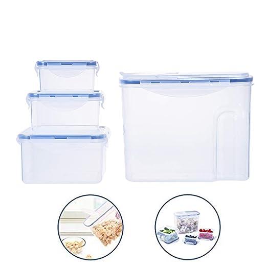 Recipiente rectangular de plástico con tapa hermética, sin BPA ...