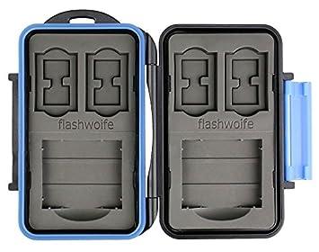 Flashwoife Turtle-SD4MSD8CF2 Estuche para tarjetas de memoria espacio suficiente para hasta 4 tarjetas SD y 8 tarjetas microSD y 2 CF memory card ...