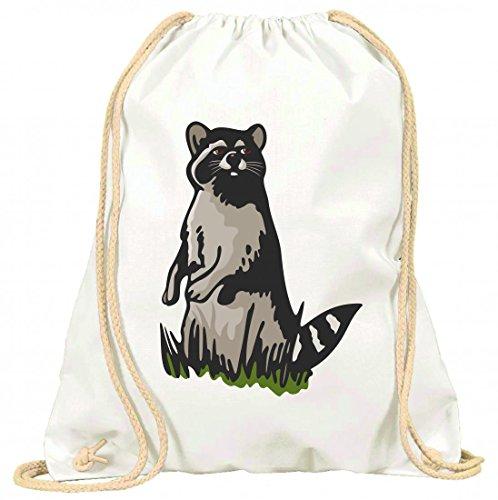 Turnbeutel Waschbär auf einer Wiese Wald Tiere mit Kordel - 100% Baumwolle- Gymbag- Rucksack- Sportbeutel Weiß