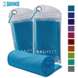 Balhvit 2 Pack Cooling Towel, Ice Towel, Microfiber Towel for Instant Cooling Relief, Cool Cold Towel for Yoga Beach Golf Travel Gym Sports Swimming Camping (Blue, 32x12inch)