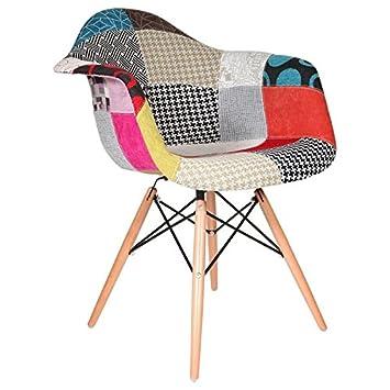 Promo Fauteuil Design Inspiration DAW Pieds En Bois Clair Assise - Fauteuil de couleur design