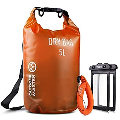 OutdoorMaster Dry Bag - Waterproof, Lightweight Dry Sack for The Beach, Boating, Fishing, Kayaking, Swimming, Rafting - Comes with 2 Free Waterproof Cell Phone Case with Floating Strap
