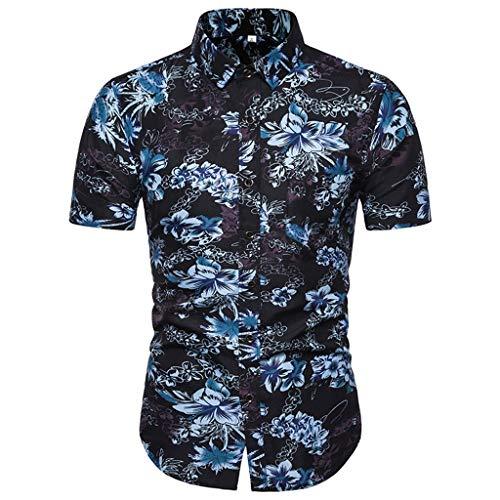 Shirts Hawaiian Short Sleeve Regular Fit Mens Floral Shirts Summer Fashion Printed Casual Comfortable Top for Men (3XL,1- Blue)