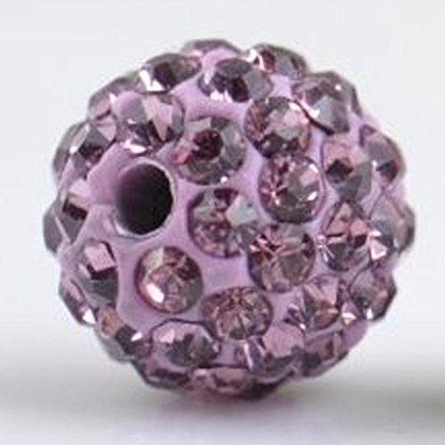 RUBYCA Pave Czech Crystal Disco Ball Clay Beads fit Shamballa Jewelry (50pcs, 10mm, Light Purple)