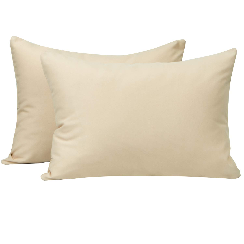 NTBAY Microfiber Toddler Pillowcases, 2 Pcs Zipper Closure Travel Pillow Covers, 13 x 18, Khaki