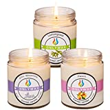 Onlywax 3 Pack All Natural Soy Wax Scented Candles And Pet Odor Exterminator Candle. Lemongrass,Peach And Lilac 8.5oz