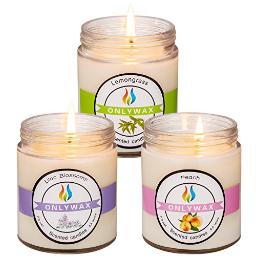Onlywax 3 Pack All Natural Soy Wax Scented Candles And Pet Odor Exterminator Candle. Lemongrass,Peach And Lilac 8.5oz by ONLYWAX