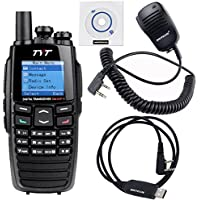 NKTECH USB Programming Cable & Remote Speaker Mic and TYT DM-UVF10 With GPS 136-174/400-470MHz Dual Band DPMR 256CH Digital Transceiver Two Way Radio