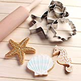 CrazyKitchenDecor Stainless Steel Cookie Cutter Shell Starfish Cookie Stamps Bakeware Biscuit Mold Baking
