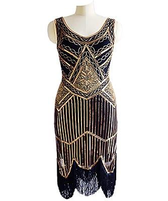 Miuco Women Flapper Dress 1920s Sequin Beaded Tassels Hem Gatsby Dresses