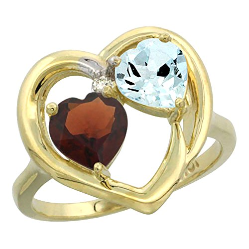 14k Garnet Gold Natural Ring (14K Yellow Gold Heart Ring 6mm Natural Garnet & Aquamarine Diamond Accent, size 6)