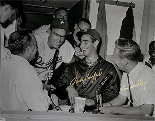 Vin Scully Sandy Koufax Dual Signed Auto 16x20 Photo MLB Stunning LA Dodgers OA (Sandy Koufax Signed Framed)
