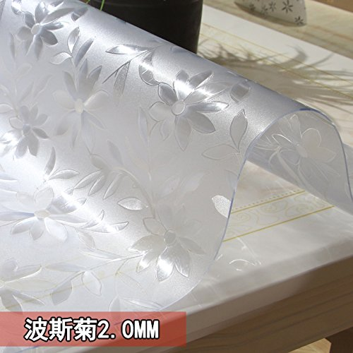 Cosmos 2,0 mm 9090cm Soft Glas Dicken Pvc Wasserdicht Tuch HitzeBesteändige Bügeleisenmatte Kunststoff Tischdecke Esstisch Couchtisch Matte Transparent Frosted Crystal Board, Ju, 2,0 Mm, 9090 Cm.