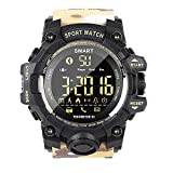EX16 Camoflauge Military Style Sports Smart Bluetooth Watch with Activity Tracker Pedometer Steps Caloires Distance Stopwatch 50M Waterproof 1 Year Long Battery Life Compare with iOS& Android (Khaki)
