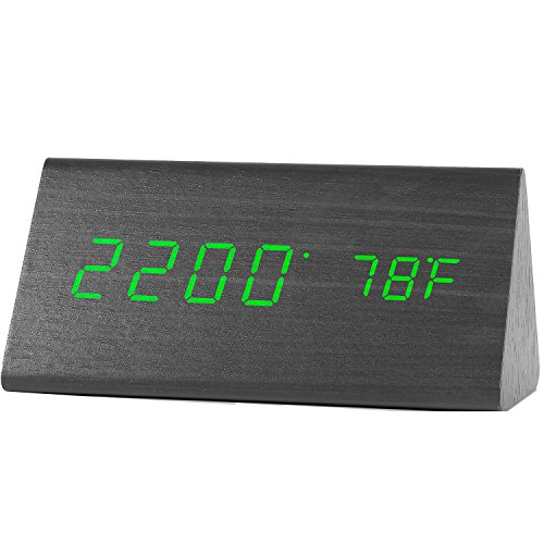 Digital Clock, Wooden LED Alarm Clocks with Triple Alarms, 3 Brightness Levels, Large Digit Green Display Date and Temperature - For Bedside, Bedroom and Office Wood (Triple Level)