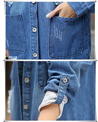 Demin Manches Bleu Veste Femmes pour Automne Longue Jean de en Jeans Hiver Manteau Longues qWgtB64