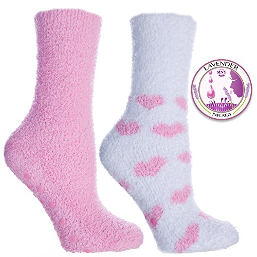2 Pair Pack of Kissables Lavender Infused Chenille Slipper Socks-Pink and White with Pink Hearts By MinxNY