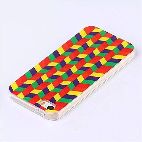 iPhone 5S Coque , iPhone 5s iPhone 5 Coque Lifetrut® [ Colorful géométrique ] [Coussin d'air] [Capsule] TPU souple ** Slim Case TPU Charm NOUVEAU ** Prime Trendy flexible couleur Soft Style Coque Etui