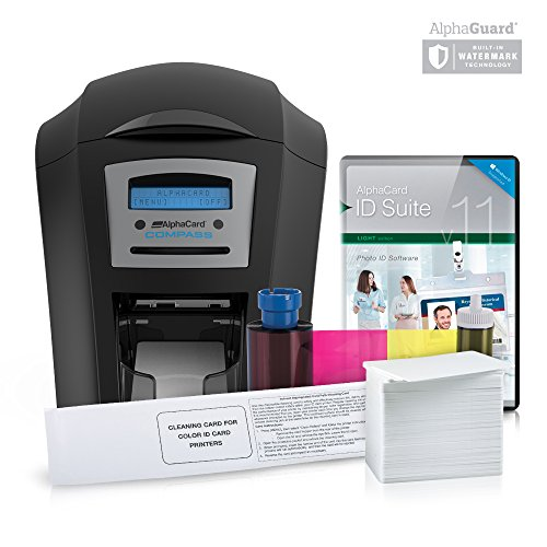 Hopper Wide Bundle - AlphaCard Compass Badge ID Card Printer System with AlphaCard ID Software (Complete Bundle for PCs, Dual-Sided Compass Printer)
