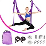 Slendor Aerial Yoga Swing Trapeze Kit Yoga Hammock Kit Including Ceiling Mounting Kit and 2 Extensions Straps (Purple)