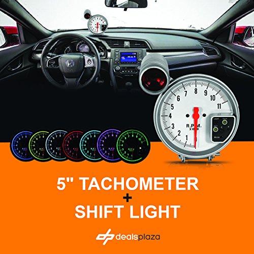 DEALSPLAZA 5'' inch 7 color LED 11K 12V Electronical RPM Tachometer Rev Counter Gauge With Red Shift Light WHITE Face Universal compatible 11000 Sport Meter Kit Car White by Dealsplaza