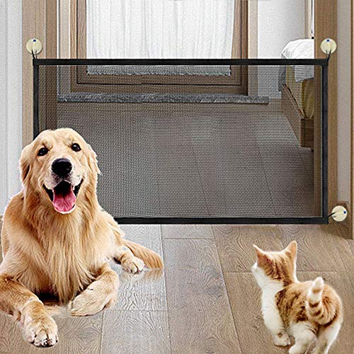 Dog& Pet Gate, laamei Lightweight Foldable Portable Mesh Safety Enclosure Fence Guard for Doorway Hallway Stairwell Outdoor Indoor 180 cm 71