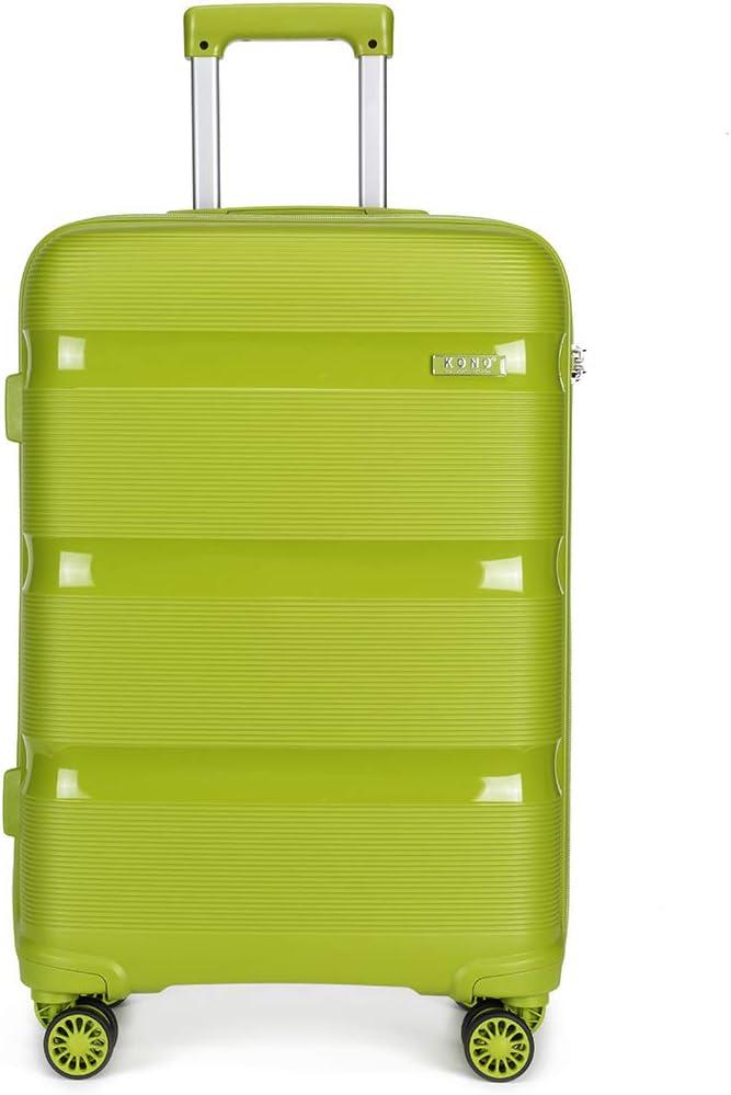 Kono Maleta pequeña Equipaje de Mano de Material PP Ligero con 4 Ruedas giratorias y Bloqueo TSA (Verde Manzana, S (56 cm, 38 L)