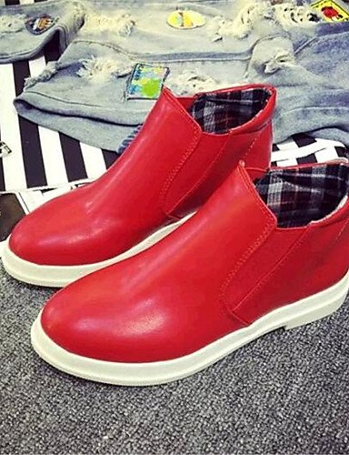 tacón semicuero Red Casual us5 Cn39 Plano comfort Uk6 Uk3 Mujer Zapatos negro Zq mocasines De us8 Cn34 Black exterior Rojo Eu39 Eu35 Blanco COtzq8