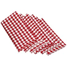 """DII Oversized 20x20"""" Cotton Napkin, Pack of 6, Tango Red Gingham Check - Perfect for Fall, Thanksgiving, Dinner Parties, Farmhouse Décor, Christmas or Everyday Use"""
