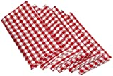 DII 100% Cotton, Oversized Basic Everyday 20x 20 Napkin, Set of 6, Tango Red Gingham Check