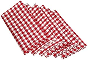 "DII 100% Cotton, Oversized Basic Everyday 20x 20"" Napkin, Set of 6, Tango Red Gingham Check"