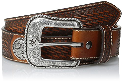 Ariat Men's Basket Stamp Circle Concho, Tan, 42 (Ranger Belt Buckle)
