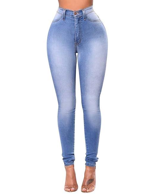 8b4c8e1267 ZhuiKun Mujer Cintura Alta Pantalones Jeans Elástico Flacos Vaqueros  Leggings Push up Mezclilla Pantalones Azul Claro