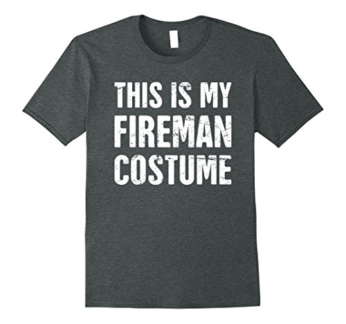 Mens Funny Halloween Fireman Costume T-Shirt Medium Dark Heather