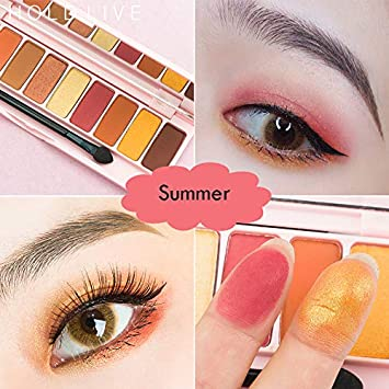 Amazon.com : Makeup Korean 10 Colors Peach Matte Eyeshadow Palette Pink Mermaid Pigment Glitter Wet Eye Shadow Powder Pallete : Beauty
